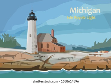 Isle Royale Light, lighthouse within Isle Royale National Park, in Keweenaw County, northern Michigan, United State, vector illustration