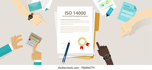 ISO 14000 management environmental standards business compliance to international organization hand audit check document