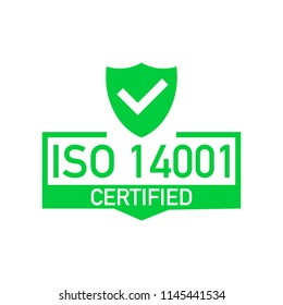 ISO 14001 Certified badge, icon. Certification stamp. Flat design vector. Vector stock illustration.