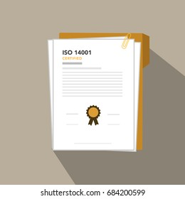 ISO 14001 certified environmental management standards document paper, vector illustration.