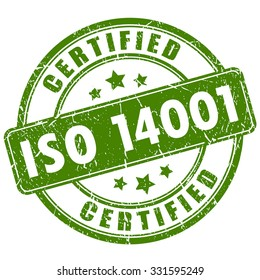 Iso 14001 certified stamp isolated on transparent background