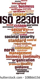 ISO 22301 word cloud concept. Vector illustration