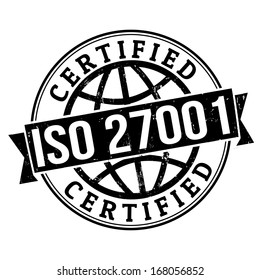 ISO 27001 certified grunge rubber stamp on white, vector illustration