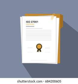 ISO 27001 Certified for Information Security Management Standard, document paper vector illustration for ISO 27001.