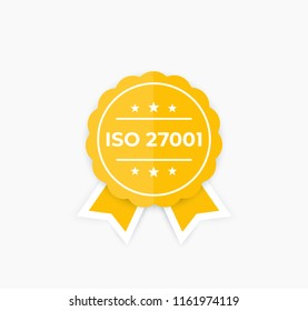 ISO 27001, information security standard, badge, vector label
