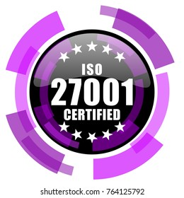 Iso 27001 pink violet modern design vector web and smartphone icon. Round button in eps 10 isolated on white background.