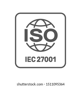 ISO 27001:2013 standard certified - Information security management. ISO 27001 sign. EPS 10