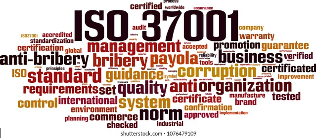 ISO 37001 word cloud concept. Vector illustration