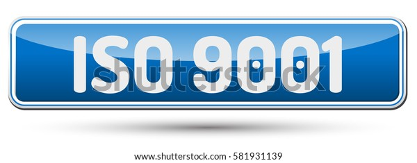 ISO 9001 - Abstract beautiful button with text.