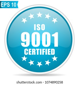 Iso 9001 blue glossy round vector icon in eps 10. Editable modern design internet button on white background.