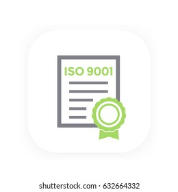 ISO 9001 certificate, vector illustration