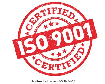 "ISO 9001 Certified red rubber stamp vector. Grunge certification stamp with text ""ISO 9001"" isolated on white background"