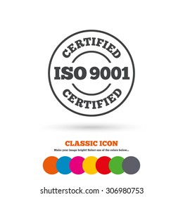 ISO 9001 certified sign icon. Certification stamp. Classic flat icon. Colored circles. Vector