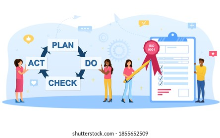 ISO 9001 quality management system. Standard, international certification concept. Process diagram with businessman and businesswomen. Cartoon flat vector illustration with fictional characters