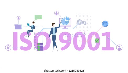 ISO 9001 standart. Concept with people, letters and icons. Colored flat vector illustration on white background.