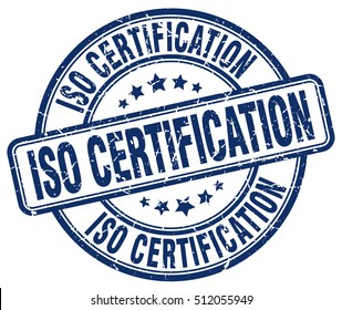 iso certification stamp.  blue round iso certification grunge vintage stamp. iso certification