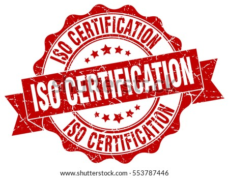 Iso Certification Stamp Sticker Seal Round Grunge Vintage Ribbon Sign