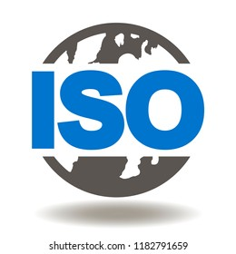 ISO Earth Planet Icon Vector. ISO Quality Standards Certified Management Organizations Illustration. Global Certification System Logo.