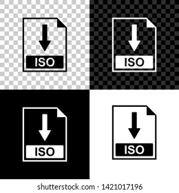 ISO file document icon. Download ISO button icon isolated on black, white and transparent background. Vector Illustration