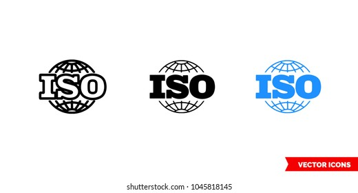 ISO icon of 3 types: color, black and white, outline. Isolated vector sign symbol.