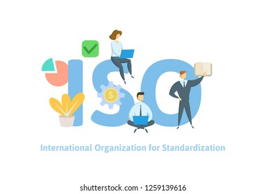 ISO standart, International Organization for Standardization. Concept with people, letters, and icons. Colored flat vector illustration on white background.