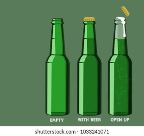 Isolate beer bottle without logo on transparent background