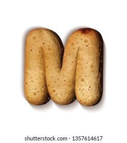 Isolate bread letter, alphabet on white background.