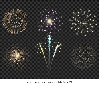 Isolate colorful firework bursting in vector illustration. Template for celebration concept