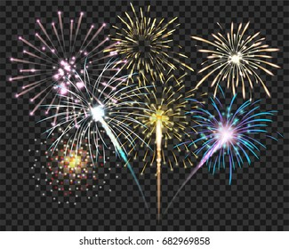 Isolate colorful firework bursting in vector illustration. concept for template to celebrate in new year and Christmas party or greeting card in celebrate event