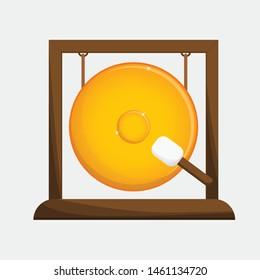 isolate gong illustration vector golden