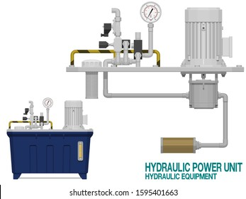 Isolate hydraulic power unit on white background.This equipment is used for generating power for hydraulic operation equipment in the manufacturing area.