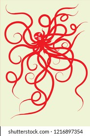 isolate red octupus graphic