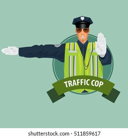 Isolate round icon on green background with traffic cop, officer of traffic police, in form of policeman, with high visibility clothing, made sign with his hands. Vector illustration