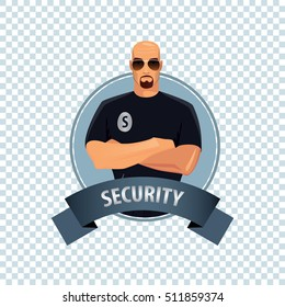 Isolate round icon on white background with security guard, bald man of strong physique in uniform of security services, stands confidently, arms crossed on his chest. Vector illustration