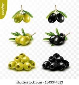 Isolated 3D green and black olives with leaves, seedless, realistic vector set
