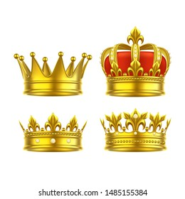 Isolated 3d king crown or realistic princess tiara. Gold game award for leader or winner, royal headdress. Monarch herdic sign. Queen and prince classic decoration.Medieval and vintage, heraldry theme