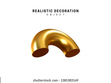 Isolated 3d object of geometric shapes cut by torus, bagel, metal half donut. Gold color element