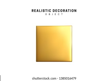 Isolated 3d object Shapes cube and geometric block, square. Gold color Element