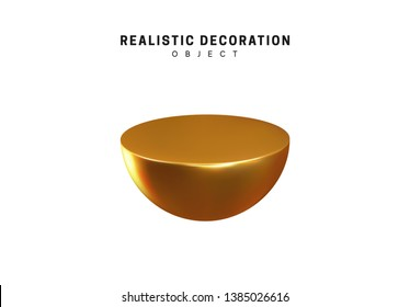 Isolated 3d object Shapes even half of the ball, semi circular ball, cut sphere. Gold color element