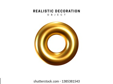 Isolated 3d object Shapes torus, bagel with hole, metal donut. Gold color element