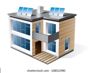 Isolated 3d vector icon of modern family eco house with wood facade. Residential building in perspective view. House icon with solar panels on the roof. Futuristic architecture.