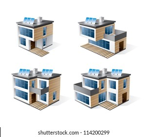 Isolated 3d vector icons of four modern family house with brown wood facade. Residential buildings in perspective view with blue solar panels on the roof. Eco housing living.