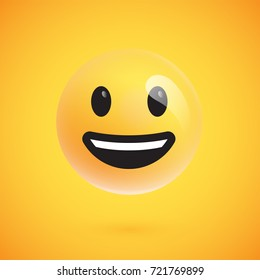 Isolated 3d/flat yellow emoticon from a set, vector illustration