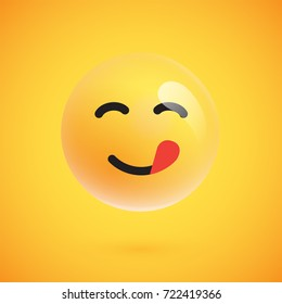 Isolated 3D/yellow emoticon with tongue from a set, vector illustration