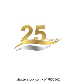 isolated abstract 25 years letter with gold and silver color icon