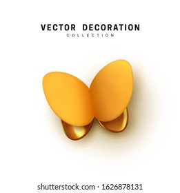 Isolated Abstract 3d butterfly. Vector Elegant Butterflies. Insects moth volume shape. Natural Design Elements. Yellow and golden color.