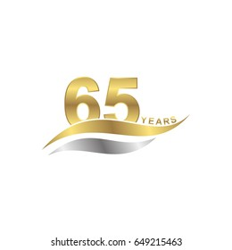 isolated abstract 65 years letter with gold and silver color icon