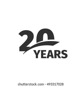 Isolated abstract black 20th anniversary logo on white background. 20 number logotype. Twenty years jubilee celebration icon. Twentieth birthday emblem. Vector anniversary illustration