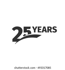 Isolated abstract black 25th anniversary logo on white background. 25 number logotype. Twenty-five years jubilee celebration icon. Twenty-fifth birthday emblem. Vector anniversary illustration
