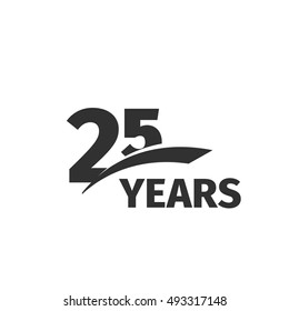 Isolated abstract black 25th anniversary logo on white background. 25 number logotype. Twenty-five years jubilee celebration icon. Twenty-fifth birthday emblem. Vector anniversary illustration